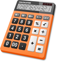 CALCULATOR ORANGE vector icon