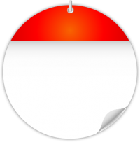 Circle Calendar Date Icon RED2