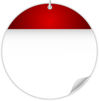 Circle Calendar Date Icon RED