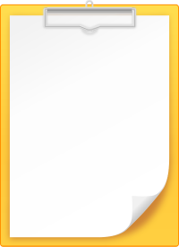 YELLOW CLIPBOARD vector icon