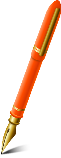 FOUNTAIN PEN LIGHT ORANGE vector icon