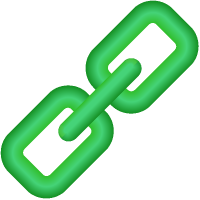 Link Icon 3D Green vector data.