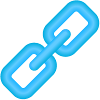 Link Icon 3D Light Blue vector data.