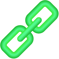 Link Icon 3D Light Green vector data.