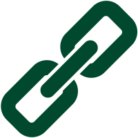 Dark green link icon. Vector data.
