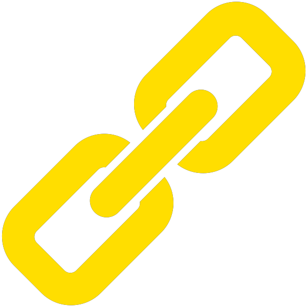 Yellow link icon. Vector data.