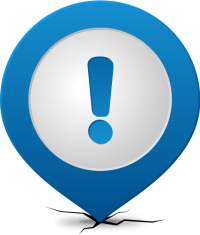 Location map pin ATTENTION BLUE