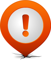 Location map pin ATTENTION ORANGE