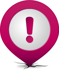 Location map pin ATTENTION PURPLE