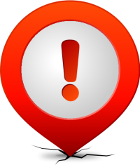 Location map pin ATTENTION RED