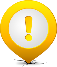 Location map pin ATTENTION YELLOW