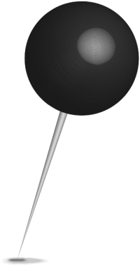Location map pin black sphere. Free vector data(SVG).