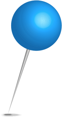 Location map pin blue sphere. Free vector data(SVG).