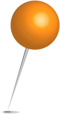 Location map pin light orange sphere. Free vector data(SVG).