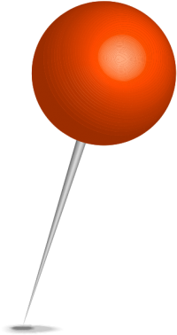 Location map pin orange sphere. Free vector data(SVG).