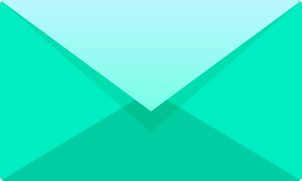 Turquoise blue E mail icon free vector data.