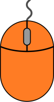 Orange mouse icon2 free vector data.