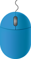 Blue mouse icon free vector data.