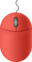 Red mouse icon free vector data.