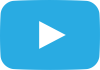 light blue movie play button vector icon