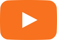 orange movie play button vector icon