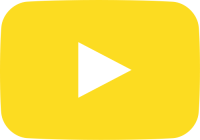 yellow movie play button vector icon