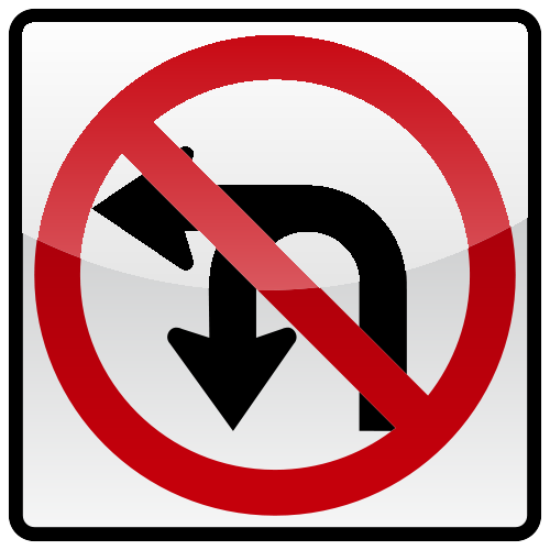 NO LEFT OR U TURNS Sign