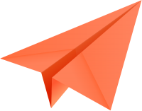 Orange paper plane, paper aeroplane vector  icon  data for free