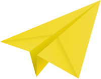 Yellow paper plane, paper aeroplane vector  icon  data for free