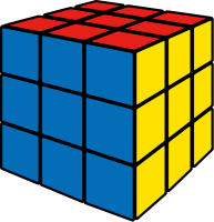 Rubik's cube blue vector icon