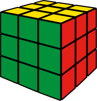 Rubik's cube green vector icon