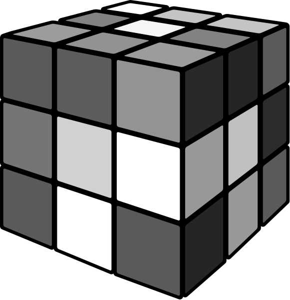 Rubik's cube mix gray 3D vector icon