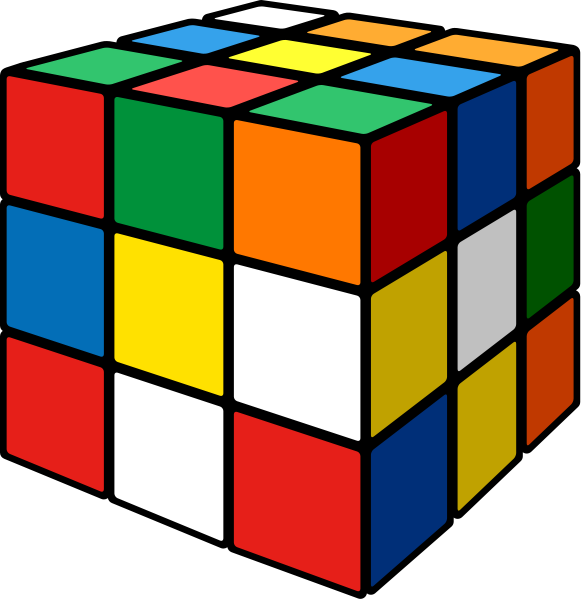 Rubik's cube mix 3D vector icon