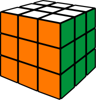 Rubik's cube orange vector icon