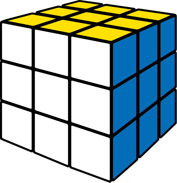 Rubik's cube white vector icon