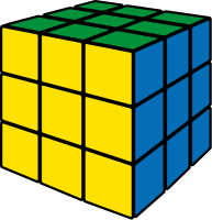 Rubik's cube yellow vector icon