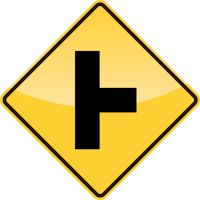 SIDE ROAD AT A PERPENDICULAR ANGLE Sign