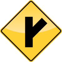 SIDE ROAD AT AN ACUTE ANGLE Sign