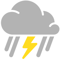 simple weather icons mixed rain and thunderstorms