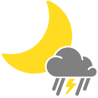 simple weather icons mixed rain and thunderstorms night
