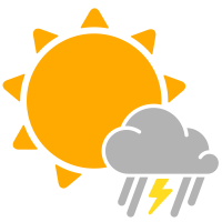 Simple weather icons partly mixed rain and thunderstorms