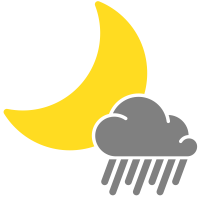 simple weather icons scattered showers night