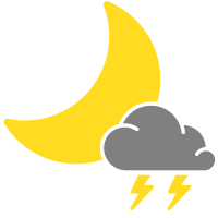 simple weather icons scattered thunderstorms night