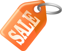 SALE TAG LIGHT ORANGE vector icon