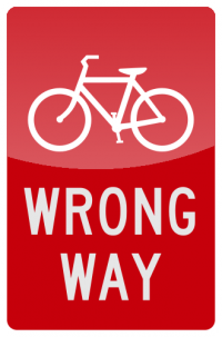 BICYCLE WRONG WAY  Sign